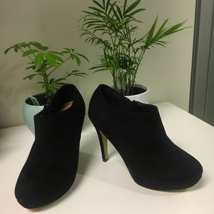 Stiletto ankle black suede booties